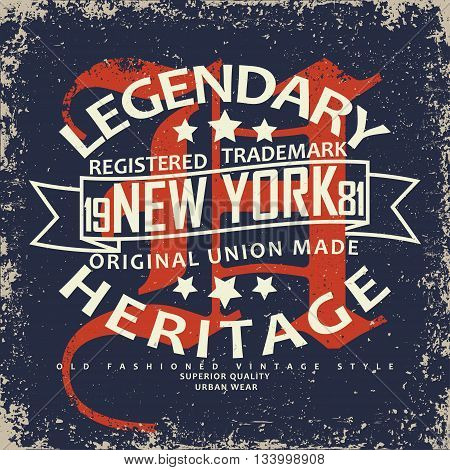 Vintage Denim typography grunge t-shirt graphics vintage grunge Artwork apparel stamp Vintage Denim wear tee print design Denim goods emblem vector