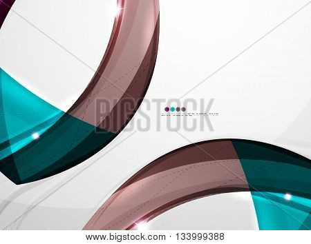Shiny wave modern motion template - color curve stripes and lines in motion concept and with light and shadow effects. Presentation banner and business card message design template