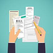Paying Bills. Hands Holding Bills And Pencil. Payment Of Utility, Bank, Restaurant And Other Bills. poster