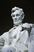 stock photo of abraham lincoln memorial  - close up of the Abraham Lincoln statue at the Lincoln memorial in Washington d - JPG
