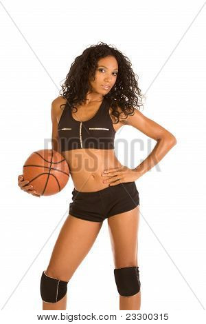 Sexy Ethnic Basketball Player Sporty Female With Ball