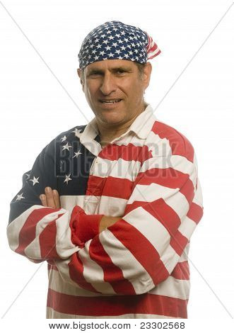 Patriotic American Man Wearing Flag Shirt