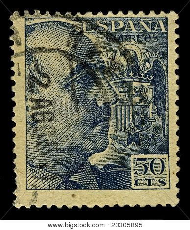 SPAIN-CIRCA 1939:A stamp printed in SPAIN shows image of Francisco Paulino Hermenegildo Teodulo Franco y Bahamonde  known simply as Francisco Franco was a Spanish dictator, military general,circa 1939