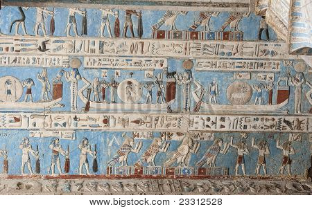 Egyptian Hieroglyphic Paintings On A Temple Wall