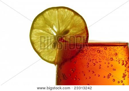 Lemon and Red soda isolated on white background