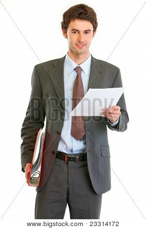 Modern Businessman With Folder And Document In Hand