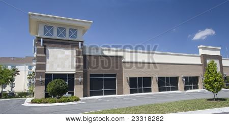 brown shades strip mall