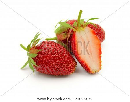 Whole And Cut Strawberries