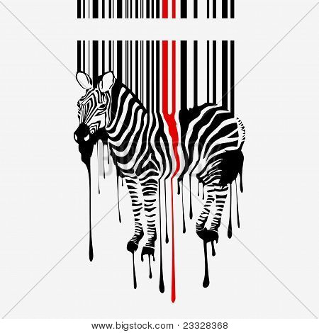 the abstract vector zebra silhouette with barcode