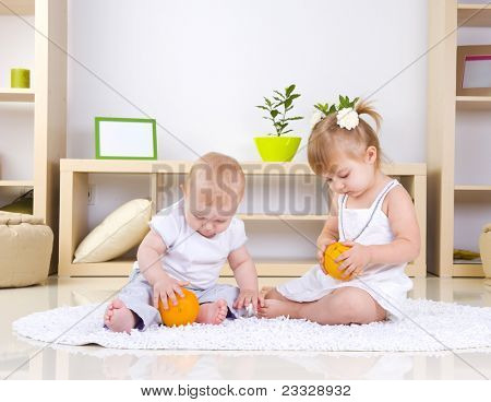 Toddlers Playing at home.Kids
