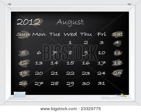 2012 August Calendar