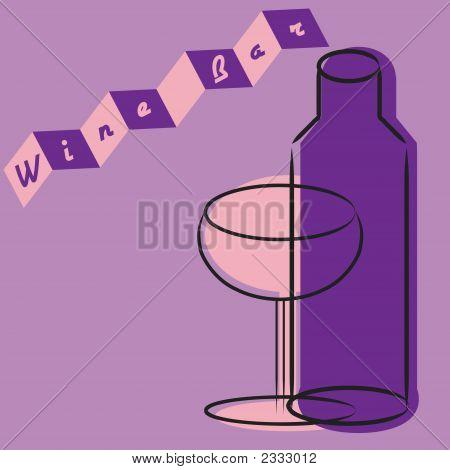 Retro Wine Glass And Bottle