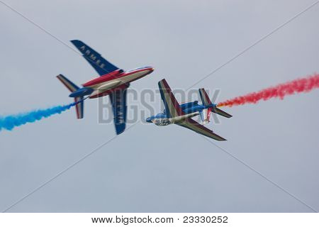 Two Patrouille de France Alpha Jets Head On