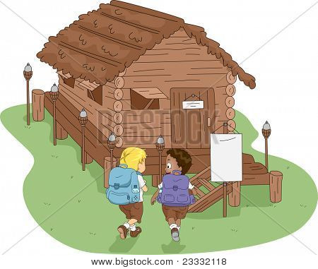 Illustration of Kids Heading to a Log Cabin