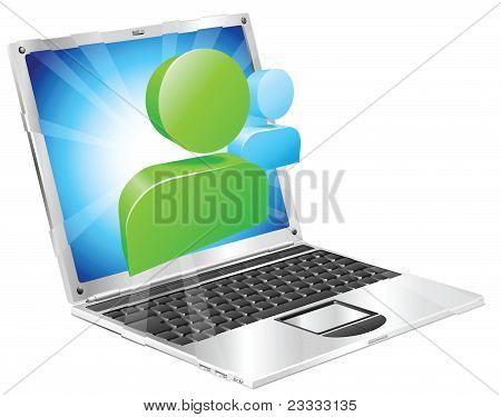 Social Media Icon Laptop Concept