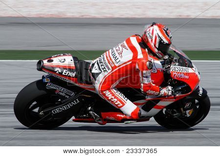 SEPANG, MALAYSIA - FEBRUARY 2: MotoGP rider Nicky Hayden of the Ducati Malboro Team practices at the 2011 MotoGP winter tests at the Sepang International Circuit. February 2, 2011 in Malaysia