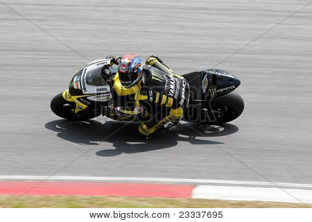 SEPANG, MALAYSIA - FEBRUARY 23: MotoGP rider Colin Edwards of Monster Yamaha Tech 3 team practices at the 2011 MotoGP winter tests at the Sepang International Circuit. February 23, 2011 in Malaysia.