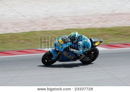 SEPANG, MALAYSIA - FEBRUARY 23: MotoGP rider Alvaro Bautista of the Rizla Suzuki Team practices at the 2011 MotoGP winter tests at the Sepang International Circuit. February 23, 2011 in Malaysia.