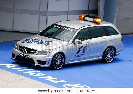 SEPANG, MALAYSIA - APRIL 8: The FIA's Medical Car parks on standby at the control centre throughout the Petronas Malaysian F1 Grand Prix on April 8, 2011 in Sepang, Malaysia.