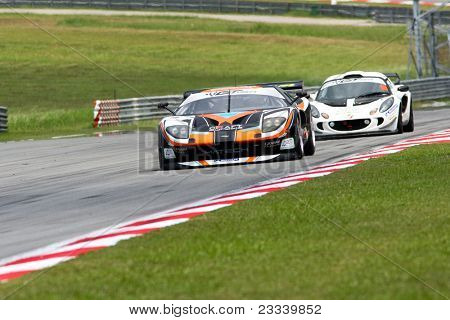 SEPANG - JUNE 17: Samson Chan (5) in a Ford takes to the tracks of the Sepang International Circuit during the practice session of the GT Asia Series race on June 17, 2011 in Sepang, Malaysia.