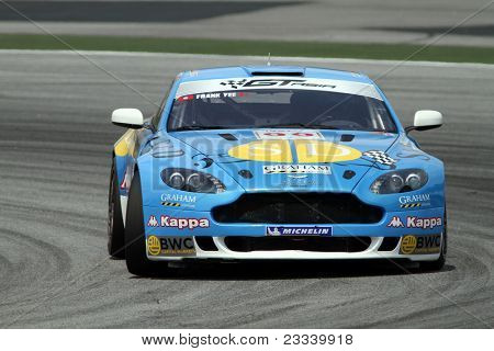 SEPANG - JUNE 17: Frank Yee of S&D Motorsports in a Aston Martin Vantage N24 takes to the tracks of the Sepang International Circuit at the GT Asia Series race on June 17, 2011 in Sepang, Malaysia.