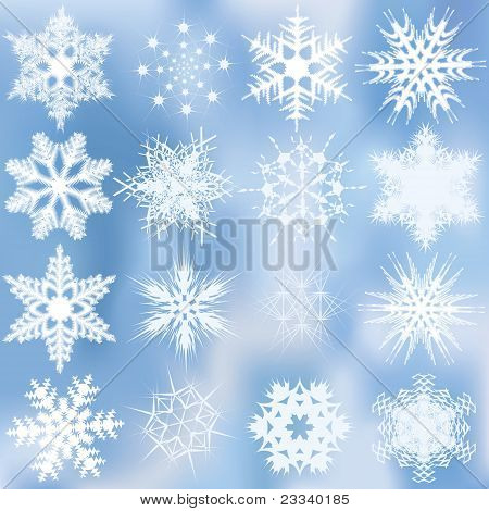 Set Of Beautiful Complex Snowflakes