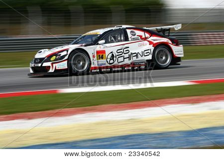 SEPANG, MALAYSIA - JUNE 18: The Lexus IS350 car of Team SG Changi takes to the tracks of the Sepang International Circuit in the Japan SUPER GT Round 3 practice on June 18, 2011 in Sepang, Malaysia.