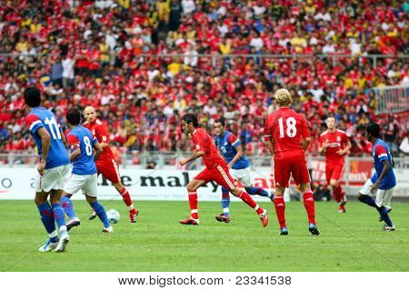 BUKIT JALIL - JULY 16 : Liverpool FC's captain Dirk Kuyt (18) leads his team's attack in this game against Malaysia at the National Stadium on July 16, 2011, Bukit Jalil, Malaysia. Liverpool won 6-3.