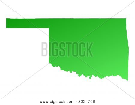 Green Gradient Oklahoma Map, Usa