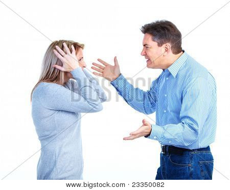 Couple having problems. Divorce. Over white background.