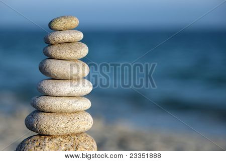 Pebble stack signifying harmony and balance
