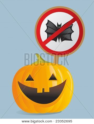 Halloween Pumpkin With The Prohibitory Sign