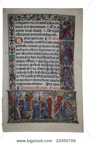 Illuminated Page From Fourteenth Century Medieval Latin Book Of Hours Depicting The Birth Of Christ