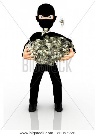 3D thief with a facemask holding dollars - isolated