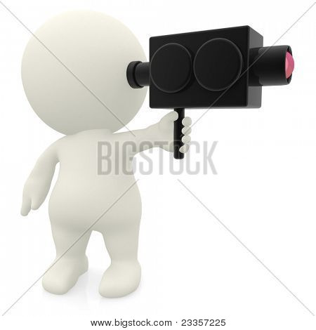 3D man filming with a video camera - isolated over white