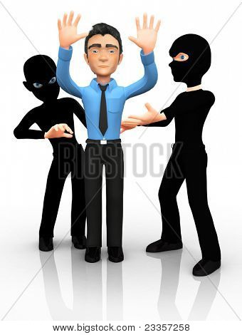 3D thieves mugging a man ? isolated over a white background