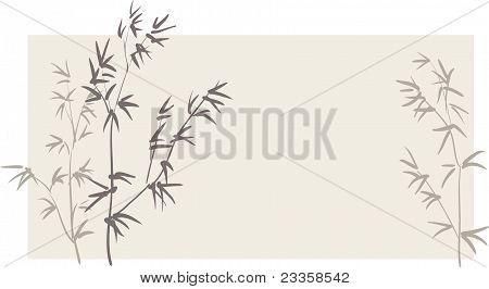 Chinese Bamboo Branches On Horizontal Background