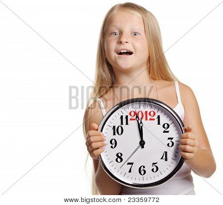 The Girl Hold In Hands A Big Clock