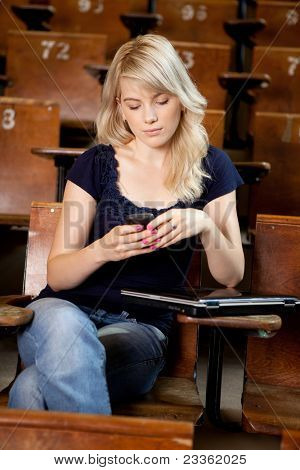 College girl writing an sms while sitting in a lecture hall