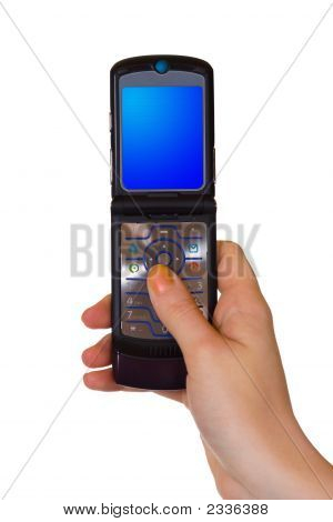 Flip Mobile Phone In Hand