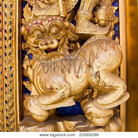 Lion In Traditional Thai Style Molding Art