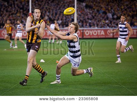 MELBOURNE - SEPTEMBER 9 : David Hale (L) handballs during Geelong's win over Hawthorn - September 9, 2011 in Melbourne, Australia.