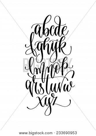 Download image of Black And White Hand Lettering Alphabet Design,  Handwritten Brush Script Modern Calligraphy Cursive