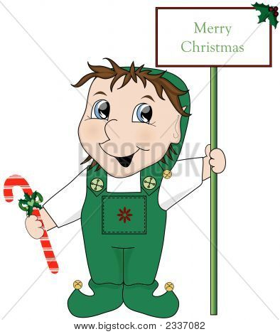 Little Elf With Sign Vector