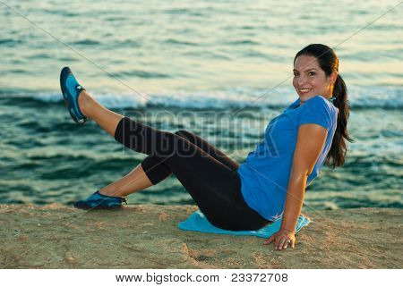 Happy Woman Doing Fitness By Sunset