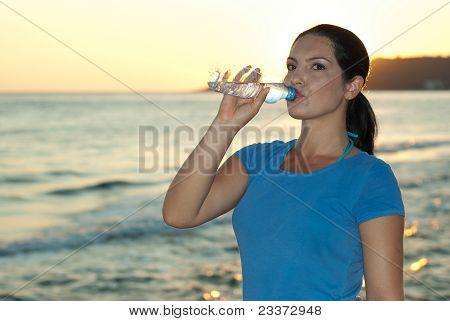Sport Woman Drinking Water