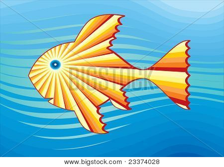 Solar fish in the sea. Simbolical drawing.