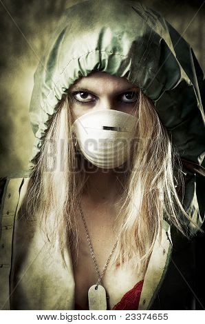 Portrait Of Sad Woman In Breathing Mask