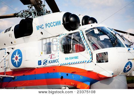 MOSCOW, RUSSIA, AUGUST,16: Russian Emergency Helicopter Rescue Service at the International Aviation and Space salon MAKS 2011, August 16, 2011 at Zhukovsky, Russia