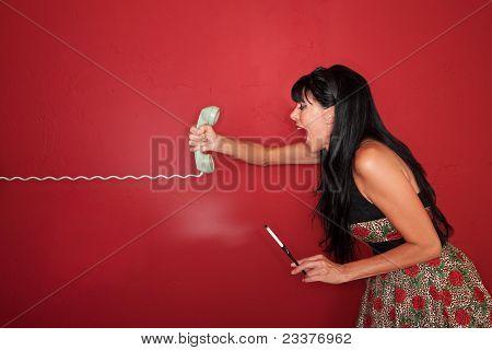 Woman Yells On Phone
